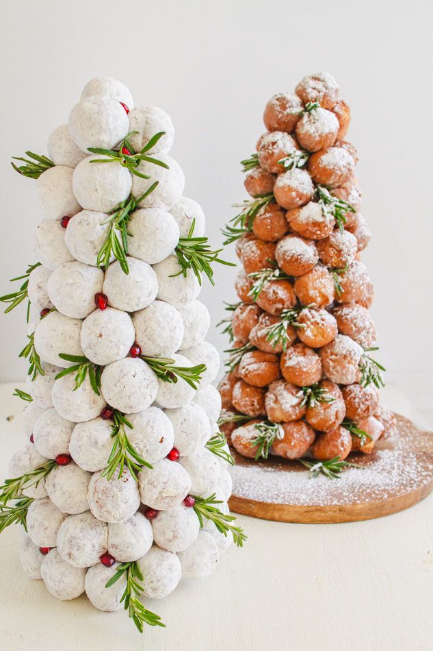 Christmas Donut Trees dusted with powdered sugar.
