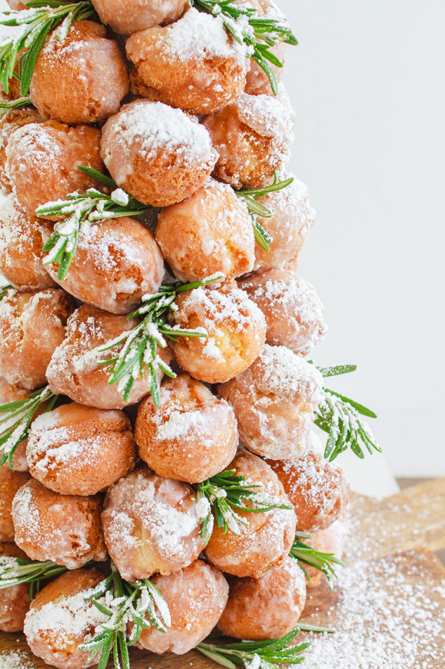 Christmas Donut Trees made with Sour Cream donut holes.