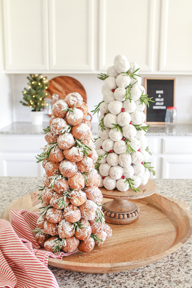 Two Christmas Trees made out of donut holes for breakfast.