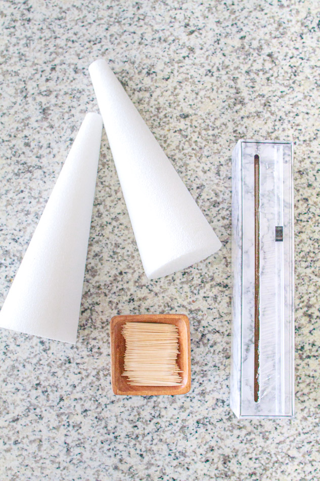 Styrofoam cones with toothpicks and plastic wrap.