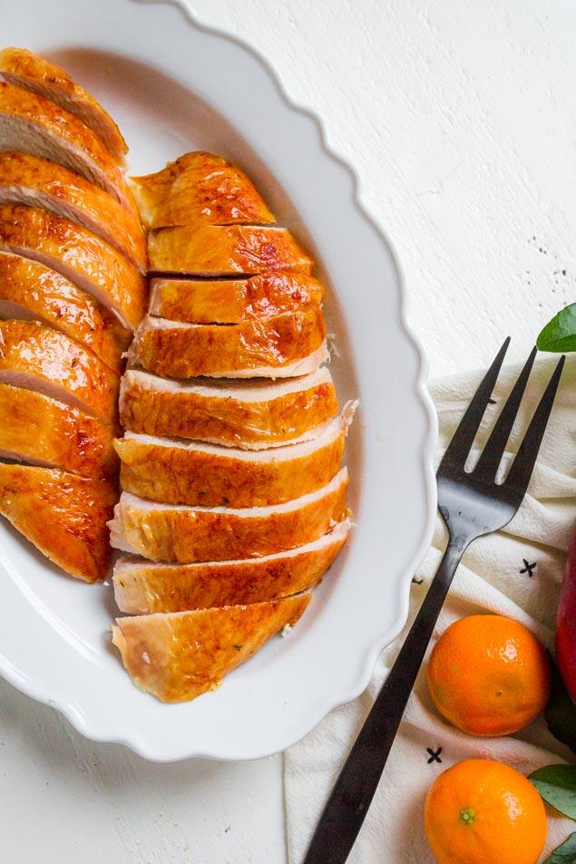 Juicy and Tender Turkey Breast with crispy skin.
