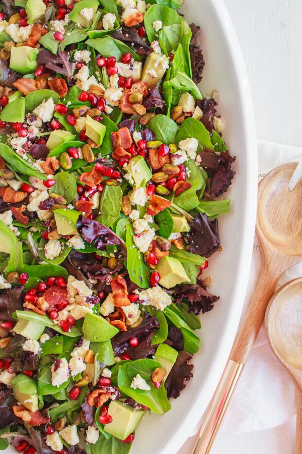 Holiday recipe for Pomegranate Avocado Salad.
