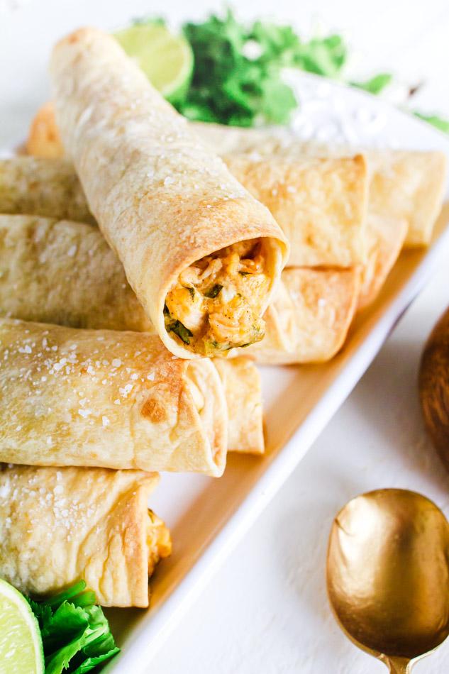 Chicken Taquitos rolled up in flour tortillas.