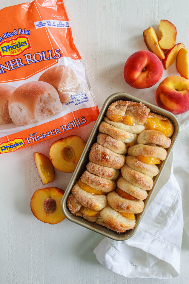 Peaches and Cream Pull Aparts made with frozen bread dough.