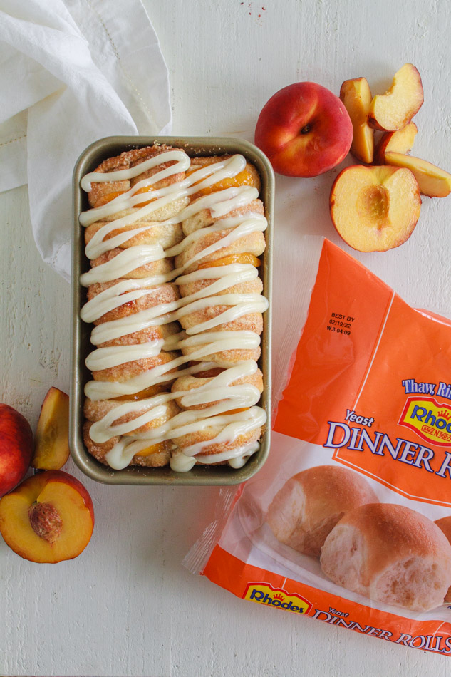 Frozen dinner rolls made into Peaches and Cream Pull Apart Bread